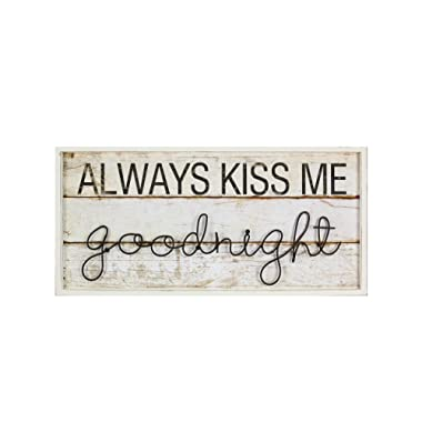 Young's Wood/Twist Iron Always Kiss Me Goodnight Decorative Sign, 27  x 13  x 1.25
