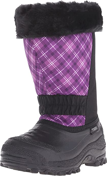 Tundra Boots Kids Girl's Glacier Misses (Little Kid/Big Kid) Black/Plum/Plaid Boot 6 Big Kid M