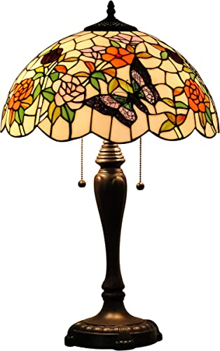 GlassMyth Lighting Tiffany Table Lamp W16H25 Inch Red Rose and Butterfly Stained Glass Shade Light Antique Base