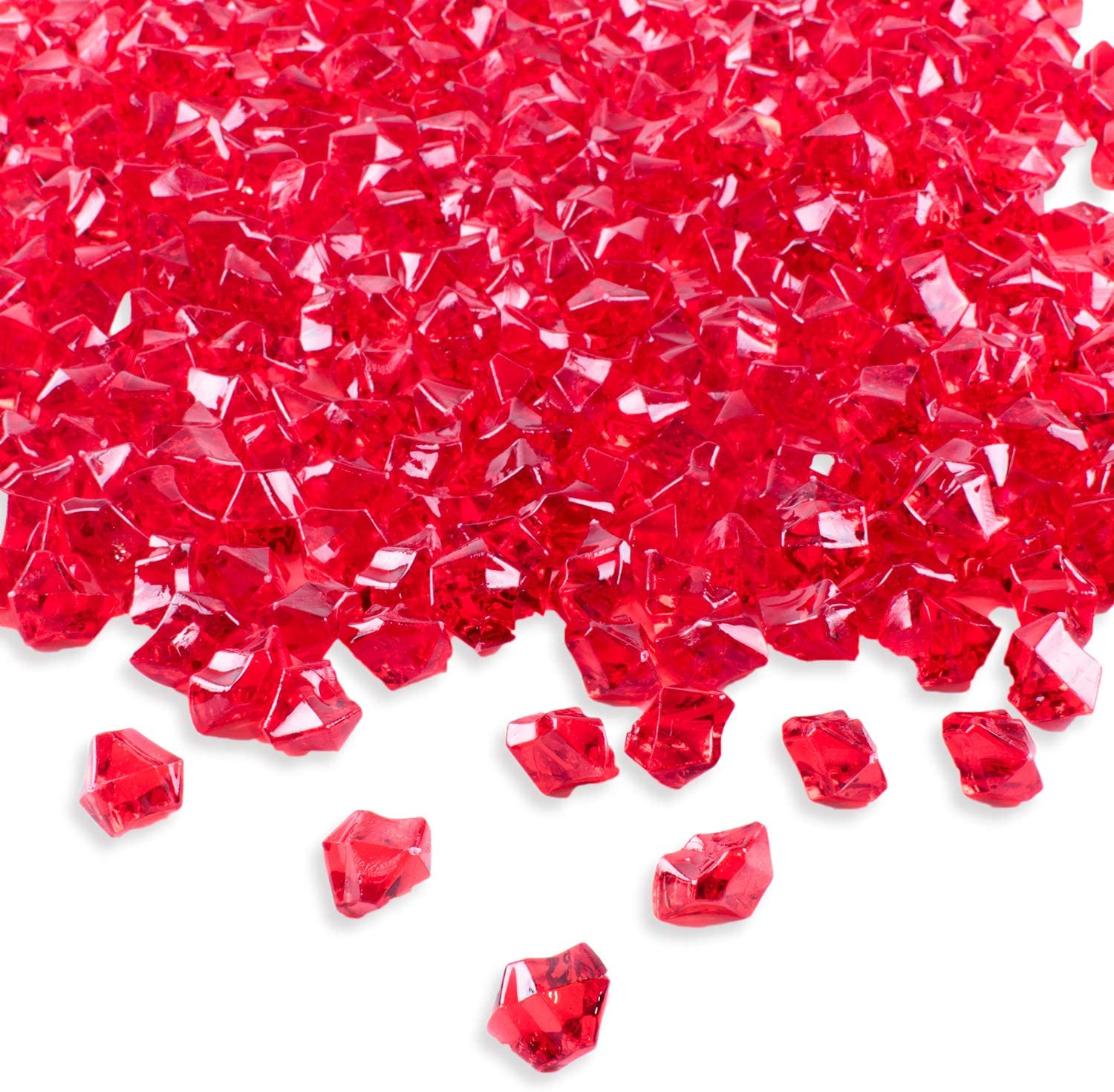"Super Z Outlet 120 Pack Acrylic Color Ice Rock Crystals Treasure Gems for Table Scatters, Home Vase Fillers, Event, Wedding, Arts & Crafts, Birthday Decoration Favor (1"" Inch) (Red)"
