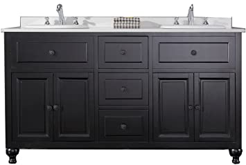 double vanity sink 60 inches. Ove Decors KensingtonDBL VB Double Vanity with White Marble Countertop and  Ceramic Basins