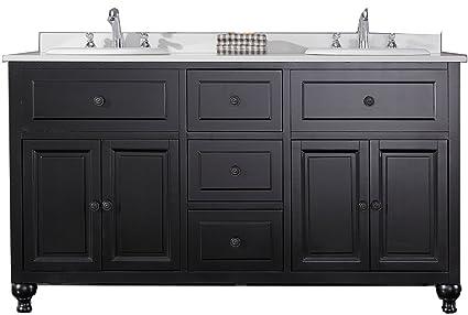 60 inch black bathroom vanity. Ove Decors KensingtonDBL VB Double Vanity with White Marble Countertop and  Ceramic Basins