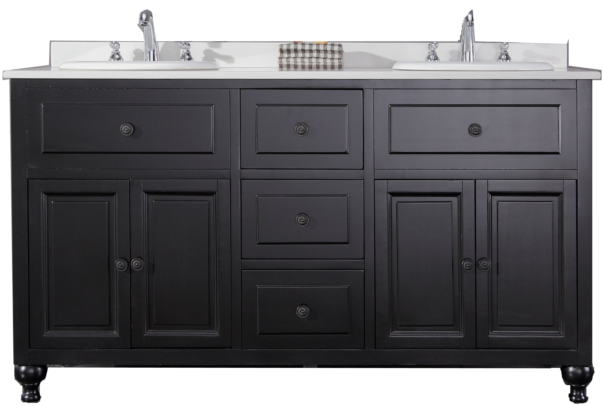 Ove Decors KensingtonDBL-VB Double Vanity with White Marble Countertop and Double Ceramic Basins, 60-Inch Wide, Dark Stain - Solid hardwood furniture Dark stain finish Sealed white man-made marble countertop and overmount ceramic basin - bathroom-vanities, bathroom-fixtures-hardware, bathroom - 81QIKp2%2BnHL -