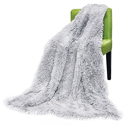 FabricMCC Faux Fur Throw Blanket, Camel Fleece Blanket, Solid Warm Soft  Grey Style Throw