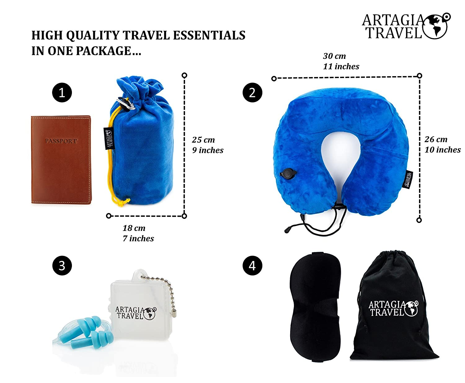 Luxury Pump Inflatable Travel Pillow 3 in 1 Travel Pack High Fidelity Ear Plugs Travel Package Completely Comfortable Travel Artagia Luxury 3D Travel Mask