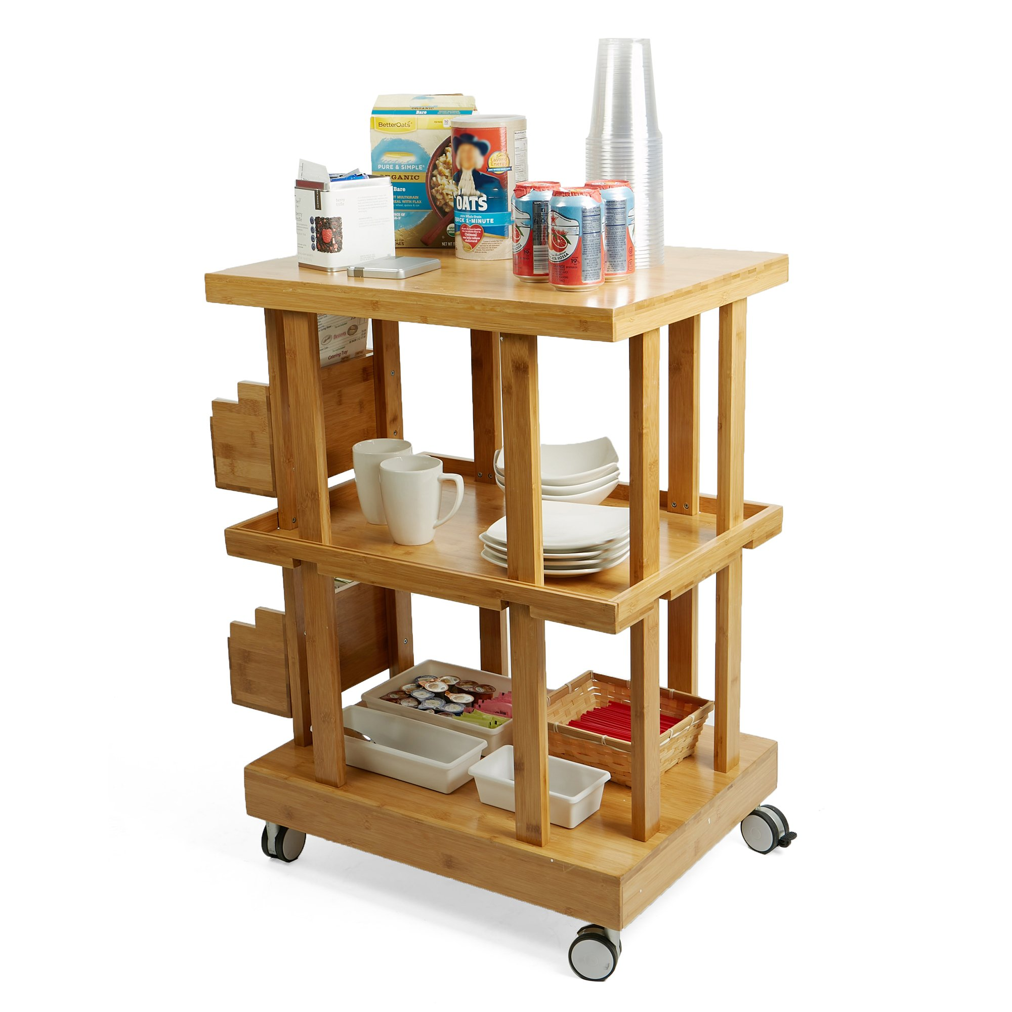 Mind Reader 3-Tier Kitchen Utility Cart with 2 Storage Compartments, Bamboo Wood, Brown by Mind Reader (Image #7)