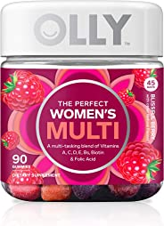 OLLY The Perfect Womens Gummy Multivitamin, 45 Day Supply (90 Gummies), Blissful Berry, Vitamins A, D, C, E, Biotin, Folic Ac