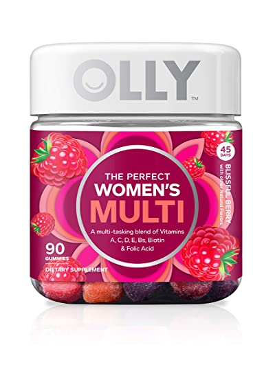OLLY The Perfect Womens Gummy Multivitamin, 45 Day Supply (90 Gummies),  Blissful Berry, Vitamins A,