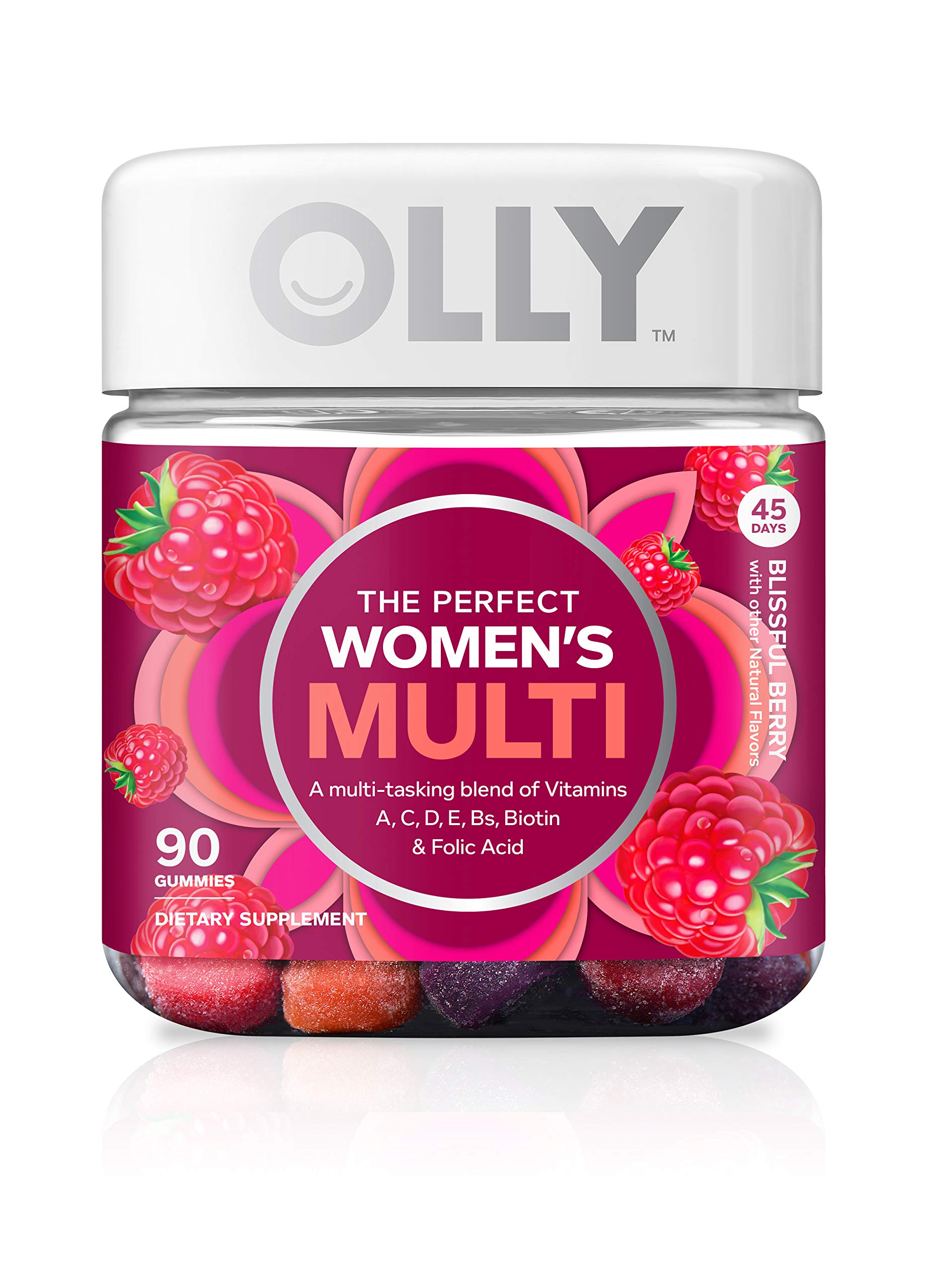 OLLY Perfect Womens Gummy Multivitamin with Biotin, 45 Day Supply (90 Gummies), Vitamins A, D, C, E, Biotin, Folic Acid, Chewable Supplement