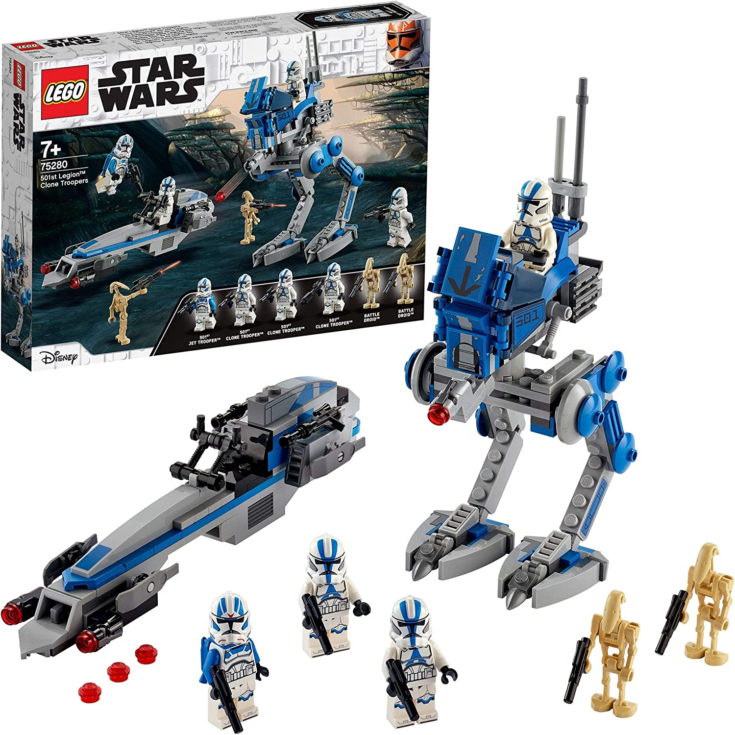 LEGO Star Wars TM Soldados Clon de la Legión 501 Set con Droides de Batalla y AT-RT Walker, Multicolor (75280): Amazon.es: Juguetes y juegos
