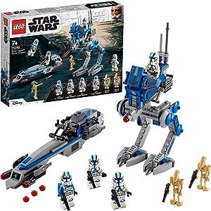 LEGO 75280 Star Wars Soldados Clon de la Legión 501 Set con Droides de Batalla y AT-RT Walker