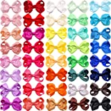 """JOYOYO 40 Colors Boutique Grosgrain Ribbon Pinwheel 3"""" Hair Bows Alligator Clips For Babies Toddlers Teens Gifts"""