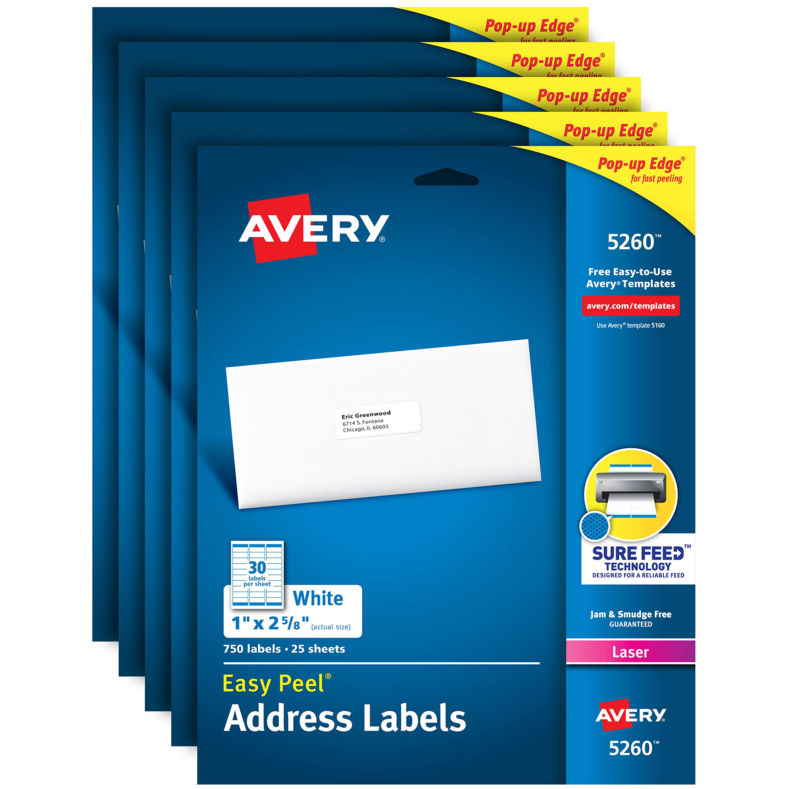 Avery Address Labels with Sure Feed for Laser Printers, 1'' x 2-5/8'', 3,750 Labels - Great for FBA Labels (5 Packs 5260) by Avery