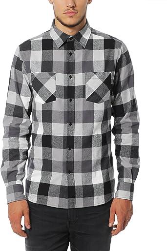 Lower East Camisa de franela para hombre, manga larga, diseño de cuadros con cuello Kent,Gris/Negro, L: Amazon.es: Ropa y accesorios