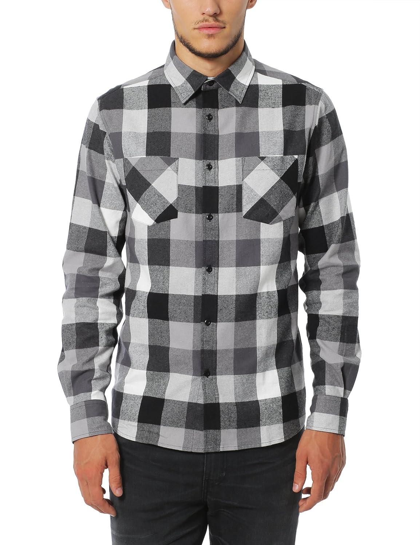Lower East Camisa de franela para hombre, manga larga, diseño de cuadros con cuello Kent