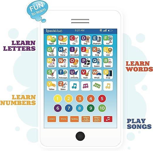 Boxiki kids Tablet Phone per Bambini con 6 Giochi educativi interattivi Tablet per Numeri di apprendimento, Alfabeto, ortografia, Gioco, Melodie  