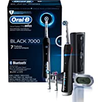 Oral-B Pro 7000 SmartSeries Rechargeable Power Electric Toothbrush with 3 Replacement Brush Heads, Bluetooth Connectivity and Travel Case (Black)