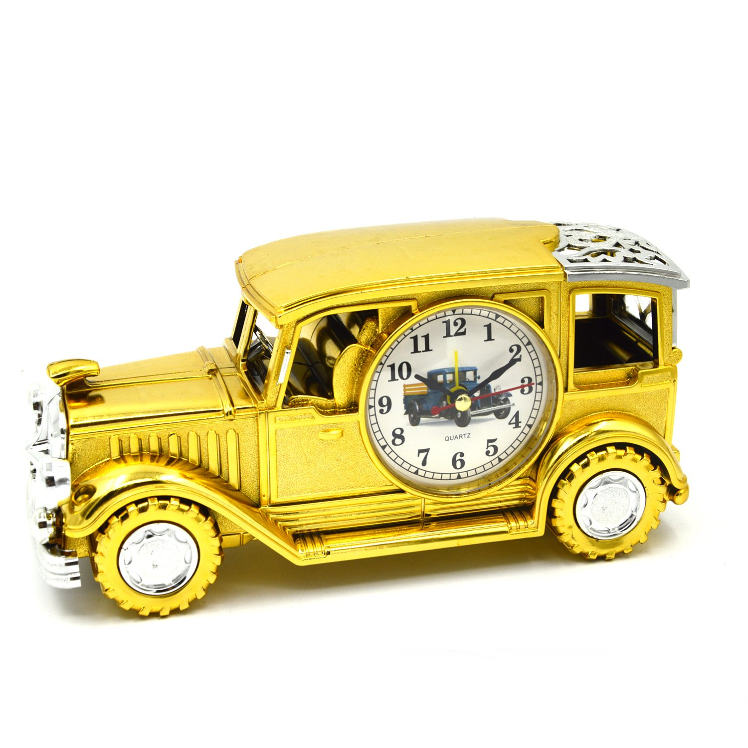 Classic Vintage Car Model Table Desk Alarm Clock Time Clock with Pen Pencil Holder Mishiner