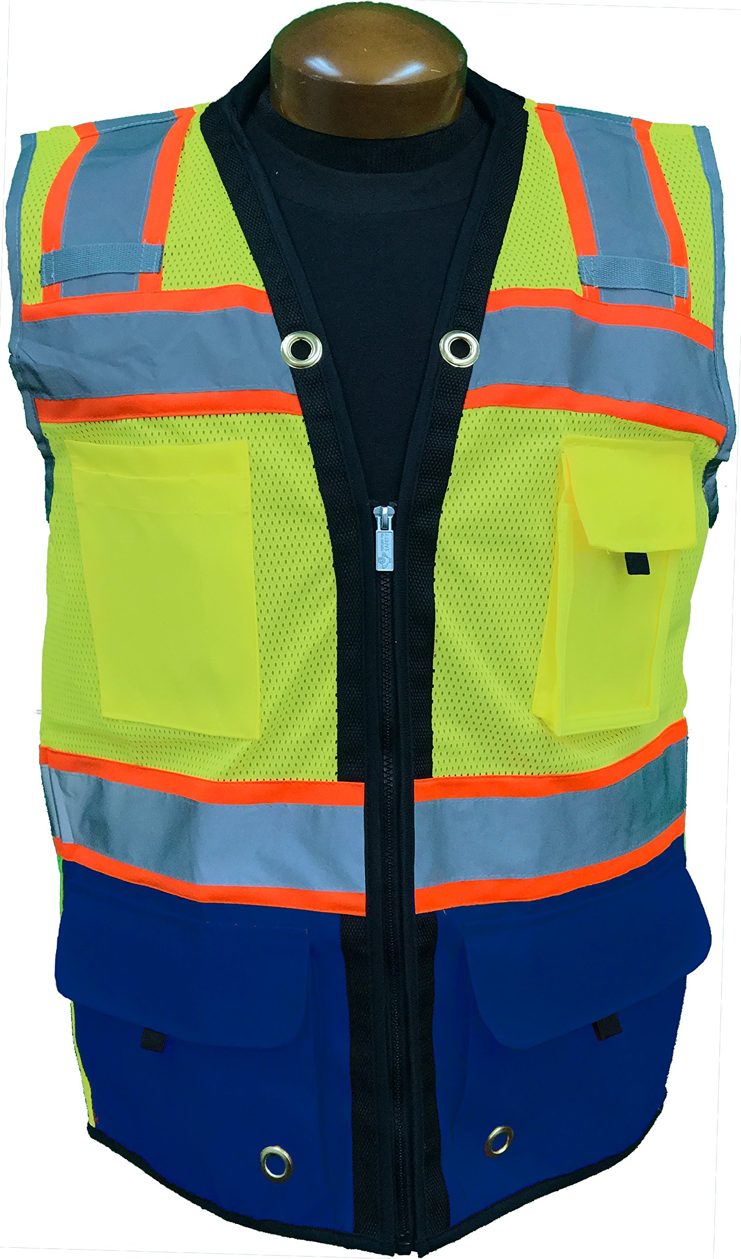 SHINE BRIGHT SV544RB | Premium Surveyor's High Visibility Safety Vest | 2 Tone Lime/Royal Blue with Reflective Strips |ANSI CLASS 2 |Soft and Breathable |Heavy Duty Zipper Front|Size Large