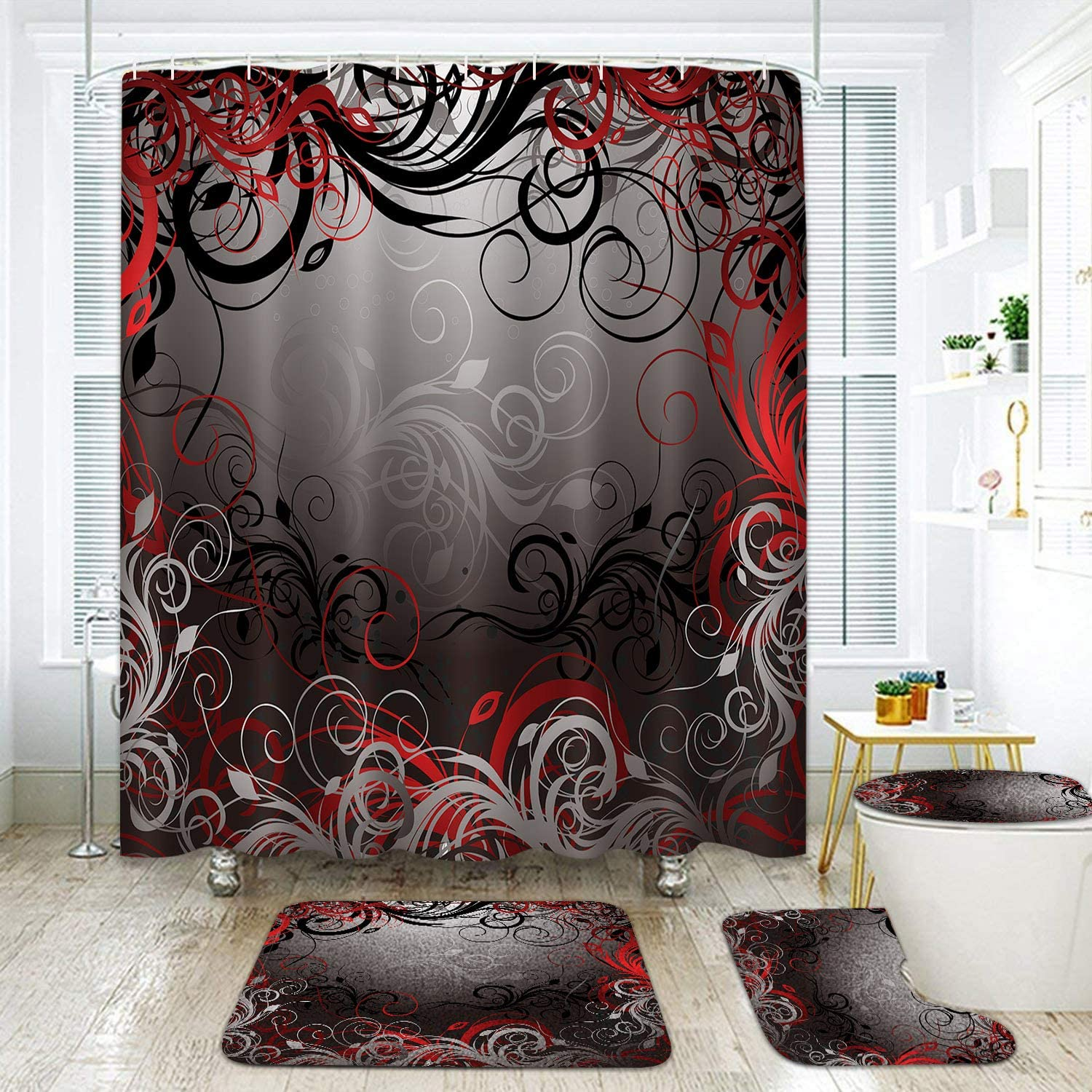 "Britimes 4 Pcs Shower Curtain Set Black red Gold Floral Abstract Swirl with Non-Slip Rugs Toilet Lid Cover and Bath Mat Bathroom Decor Set 72"" x 72"""