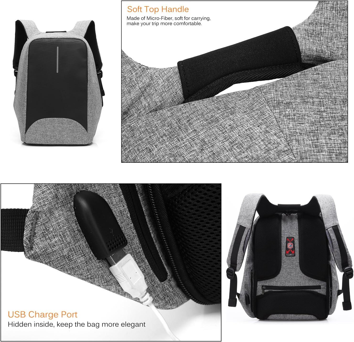 Nero Coolbell Zaino per Laptop 15,6 Pollici Zaino in Nylon Borsa da Lavoro antifurto Bookbag Resistente allAcqua Zaino da Viaggio Durevole con Porta di Ricarica USB per Uomo Donna