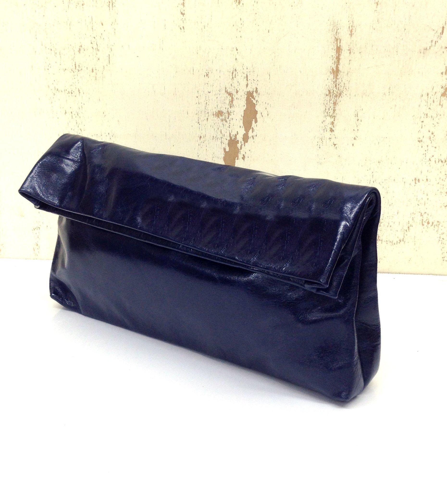 Foldover Glossy Deep Blue Leather Clutch Handbag purse Shoulder handbag Opt: cross body strap