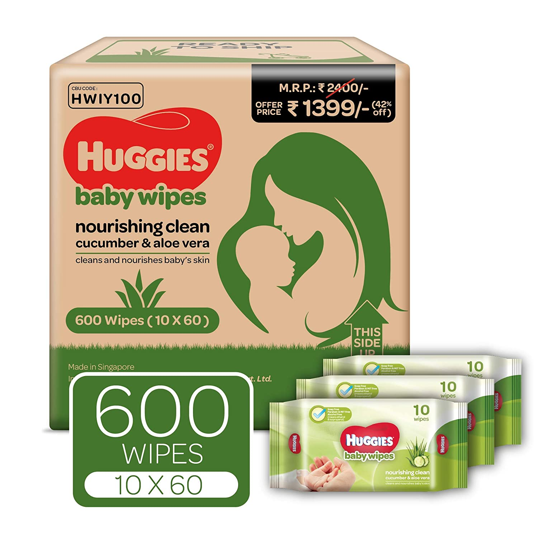 Huggies Nourshing Clean Baby Wipes (10 x 60 Packs)
