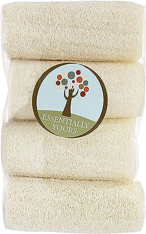 Natural Exfoliating Loofah Sponges   Natural Bath and Body Sponge, 4 Pack