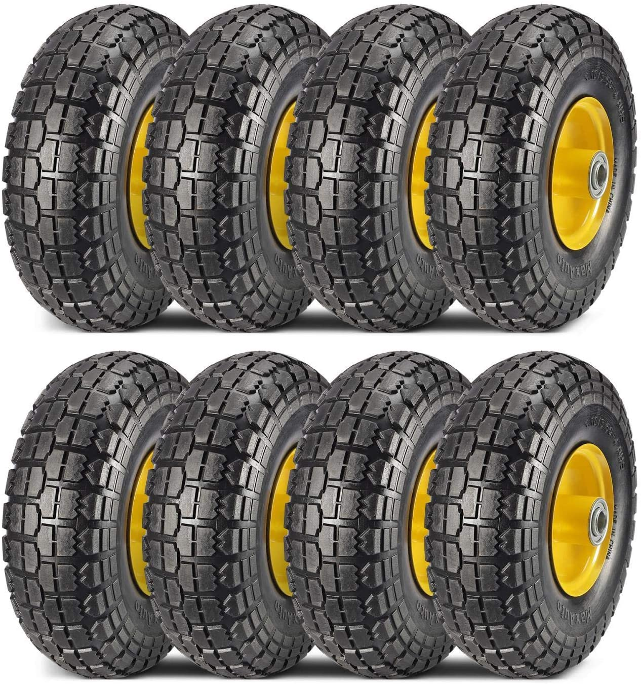 MaxAuto 8-Pack 10 Inch Solid Rubber Tyre Wheels Garden Wagon Cart Trolley Tires 4.10/3.50-4