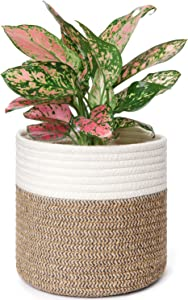"""Mkono Cotton Jute Rope Seamed Plant Basket Modern Table Desktop Indoor Planter Up to 7 Inch Flower Pot Woven Storage Organizer with Handles Home Decor, 8"""" x 7.5"""""""
