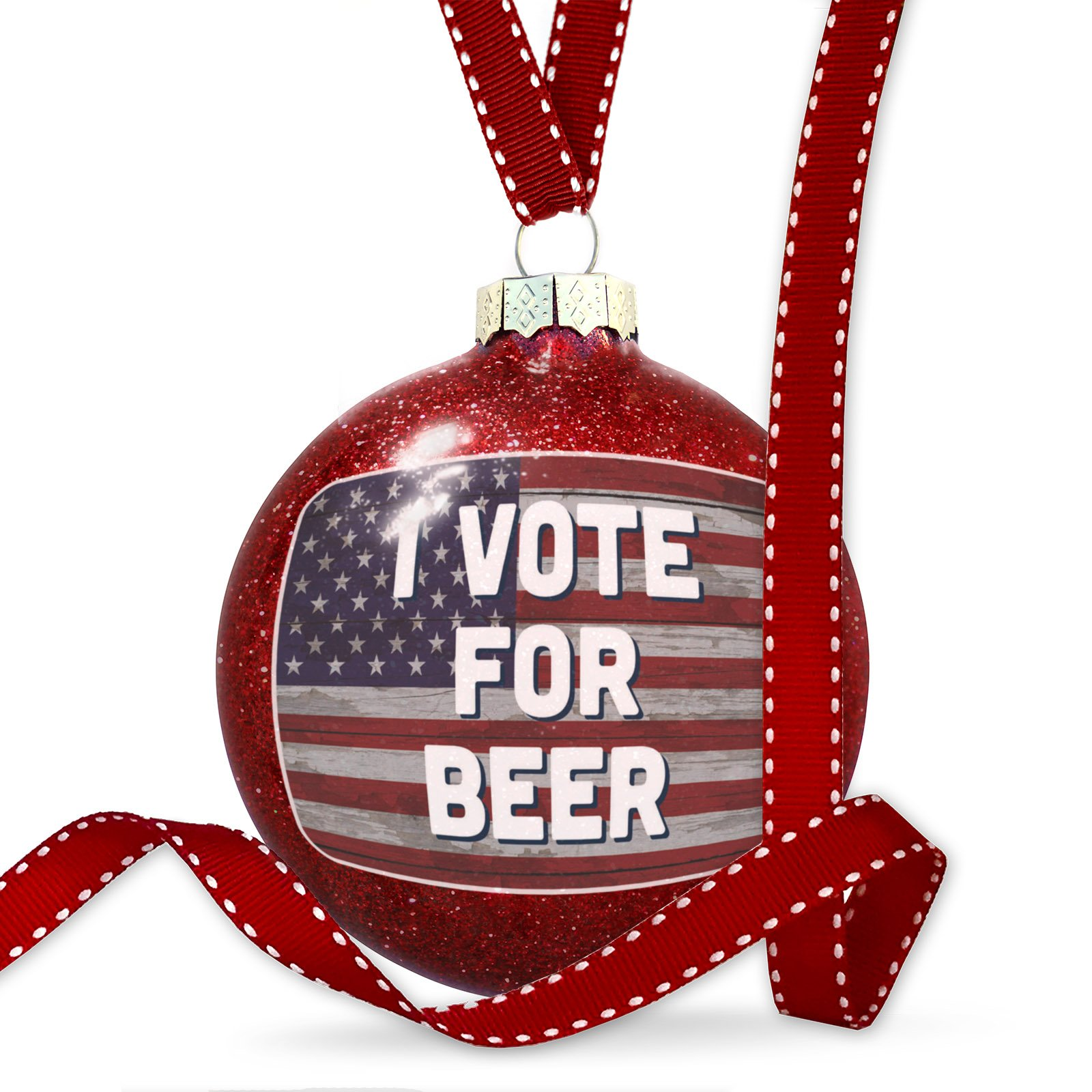 Christmas Decoration I Vote for Beer Fourth of July Vintage Wood Flag Ornament