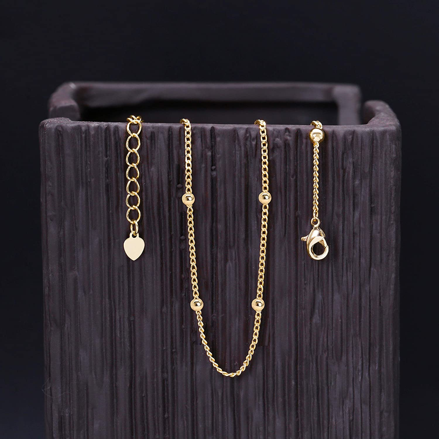 efd491ecd49db 18k Gold Satellite Chain Choker Lava Bead Pendant Necklace Dainty Jewelry  for Women 16''