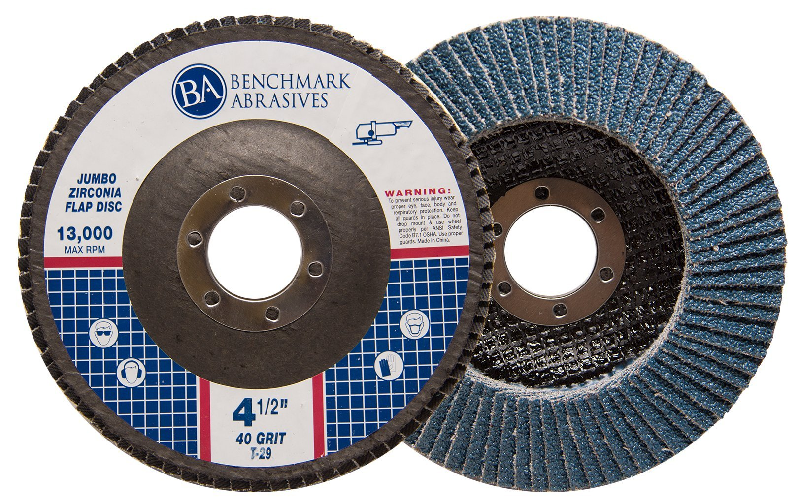 4.5'' x 7/8'' Premium High Density Jumbo Zirconia Type 29 Flap Disc 40 Grit - 10 Pack by Benchmark Abrasives (Image #3)