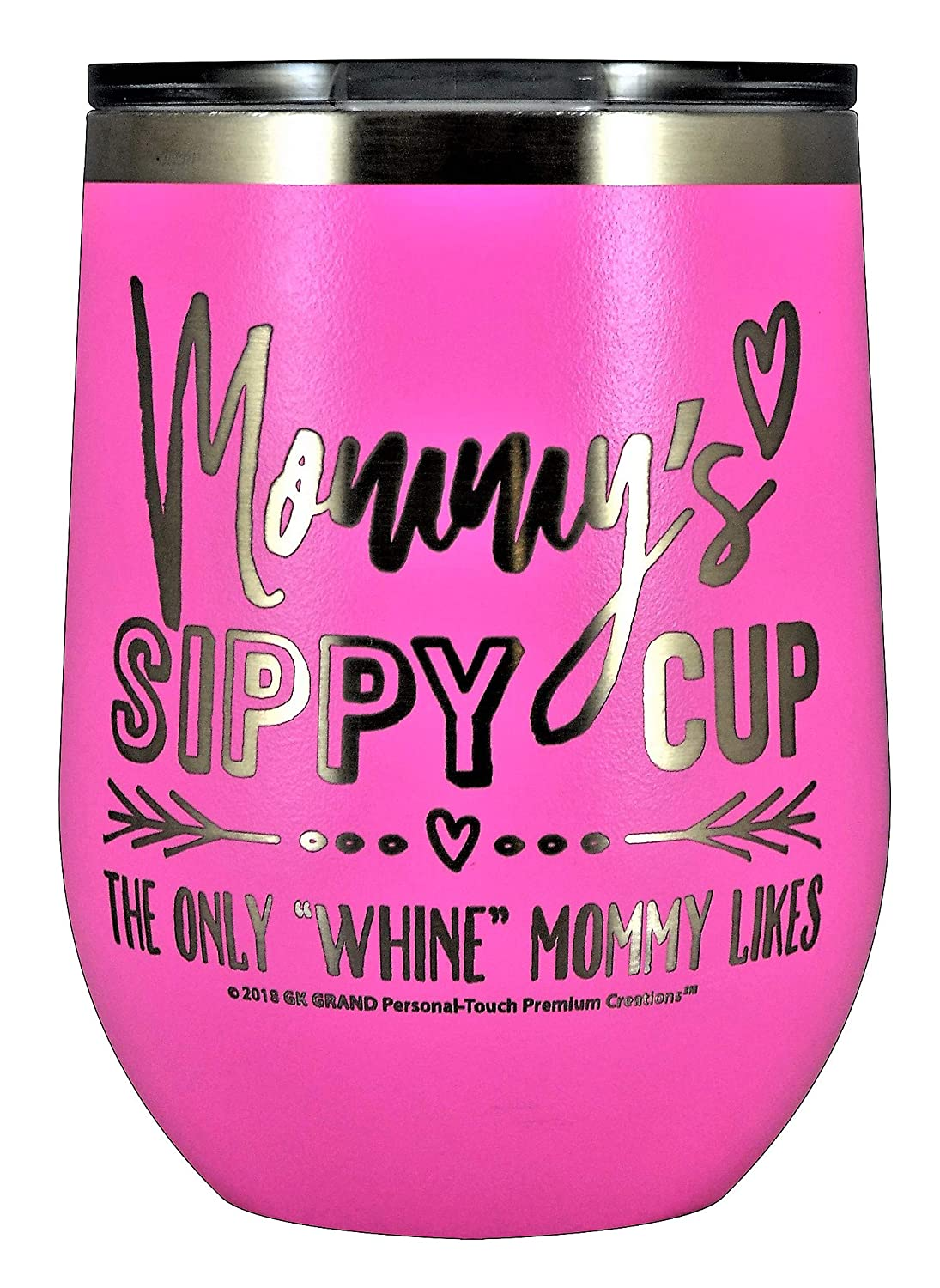 MOMMYS SIPPY CUP WINE GLASS GIFT TUMBLER Engraved Stainless Steel Stemless Wine Tumbler 12 oz Vacuum Insulated Travel Coffee Mug Hot Cold Drink Mothers Day Christmas Birthday Mom Black