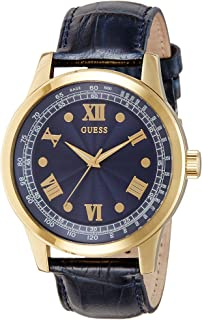 Guess W0662G3 45mm Stainless Steel Case Blue Calfskin Mineral Mens Watch