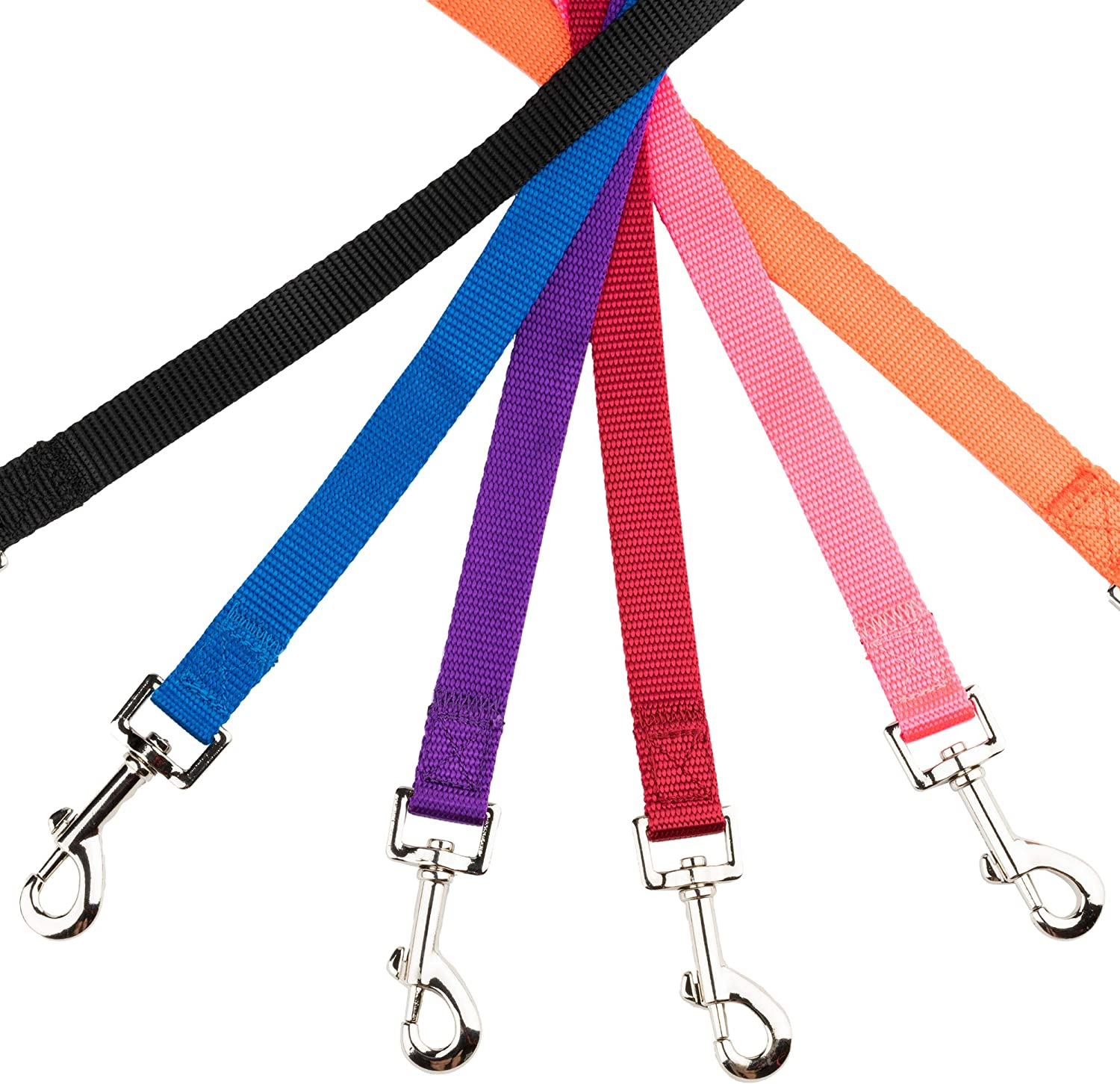 YUDOTE Nylon Dog Leads,Easy to Clean,Soft Lightweight Leash for Daily Walk with Puppies and Small Breeds Fluorescent Orange 1.5cm Wide 120cm Long