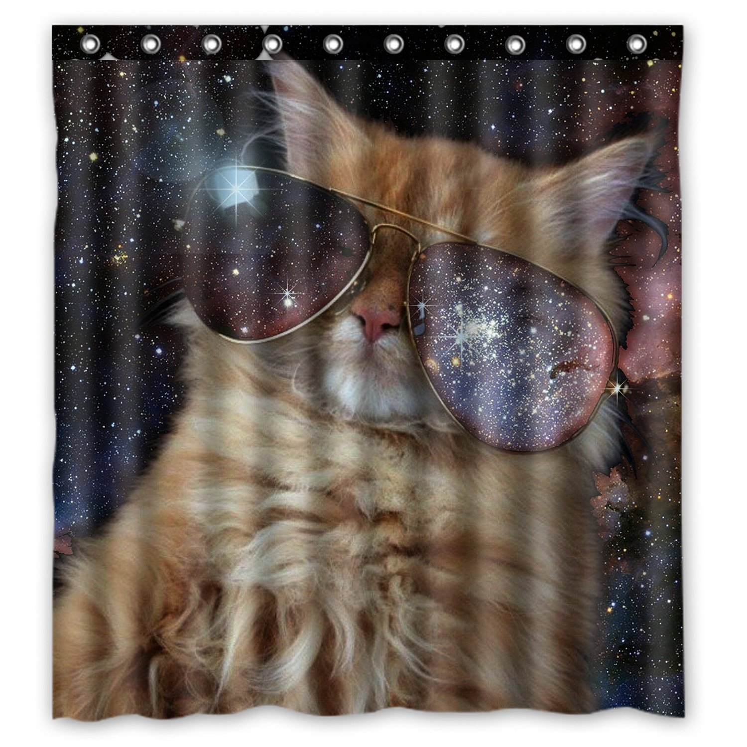 FMSHPON Yellow Cat with Sunglasses Waterproof Polyester Fabric Bathroom Shower Curtain Size 66 X72 Inches