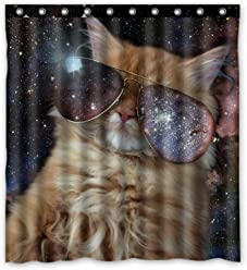 Funny Design Star Galaxy Outer Space Cool Cat Shower Curtain 66w X