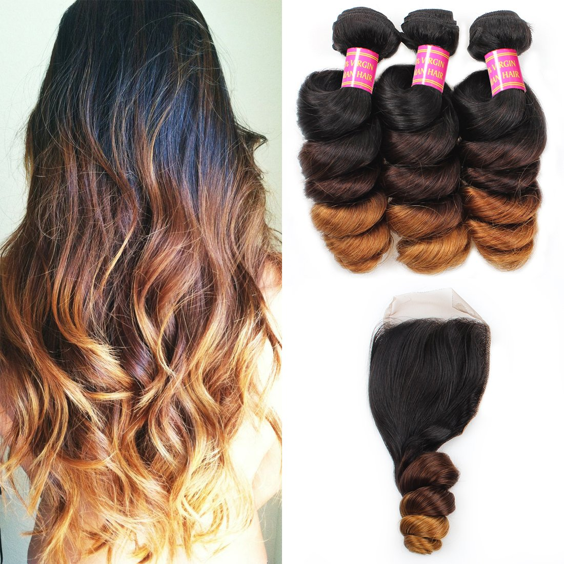 Allove Hair 8A Brazilian Ombre Loose Wave Hair Bundles with Closure Virgin Remy Human Hair Weave Bundles with 4x4 Ombre Loose Wave Lace Closure 1b/4/27 Ombre Human Hair Extensions (18 20 22+16)