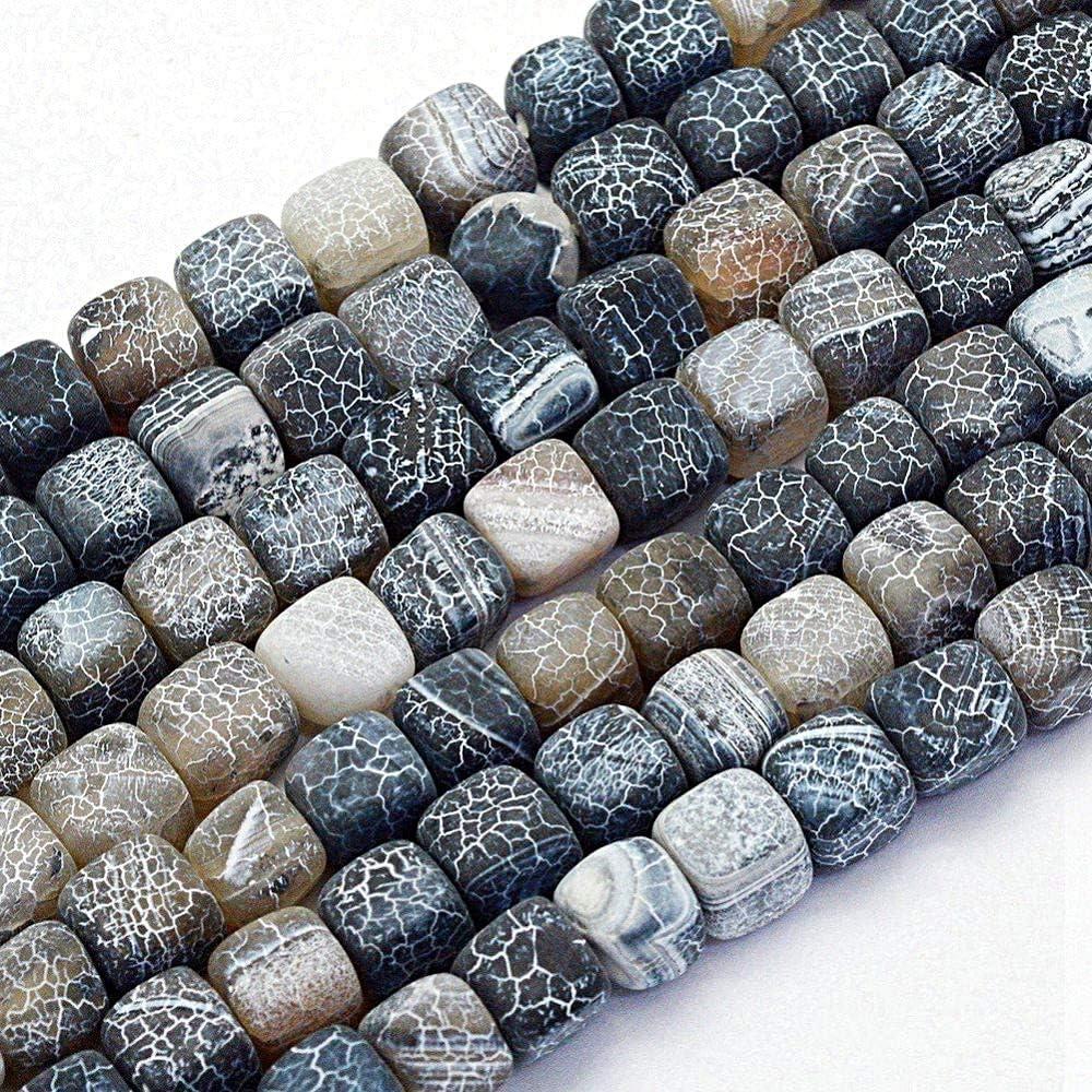 Piedra de ágata mate esmerilada, perlas de piedras preciosas, 8 mm, 12 unidades, cubos de piedra natural, perlas de ágata esmerilada, piedras semipreciosas, joyas, color a elegir, piedra, Negro