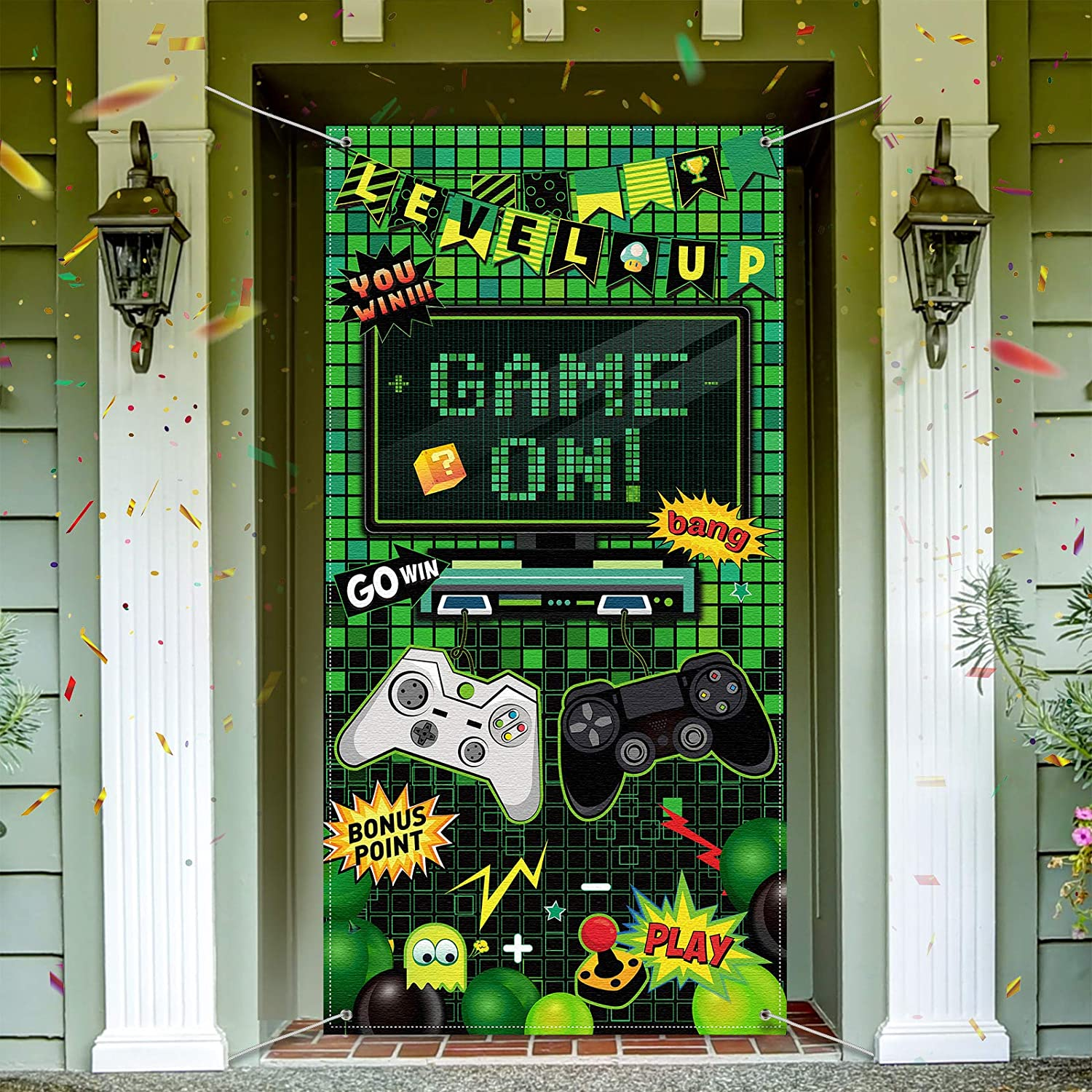 Video Game Party Decoration Video Gaming Photo Door Backdrop Game On Boys Birthday Photo Banner Gamer Room Decor for Game Fans Video Gamer Party Decoration Supplies, 6 x 3 Feet