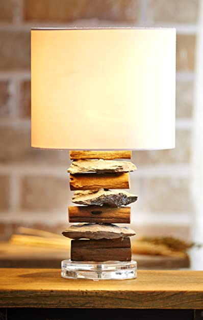 Ou0027THENTIQUE Driftwood Table Lamp With Stone | Rustic Wood Natural Reclaimed  | White Fabric
