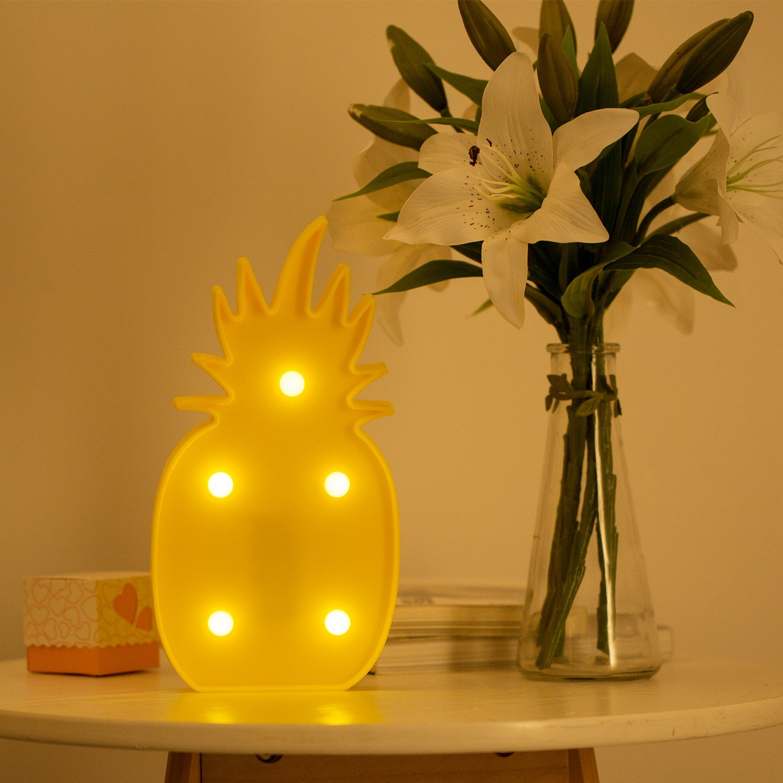Piña Lámpara de Mesa,MOOKLIN Lámpara de mesa de luz LED Lámpara de Tabla Decoración Iluminación para Navidad de Sala de Hogar Decoración de Pared – ...