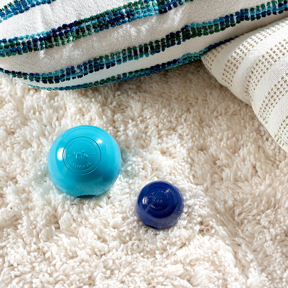 Rocco & Roxie Dog Toys Balls - Tough Nearly Indestructible Toy for All But the Most Aggressive Chewers - Balls for Large and Small Dogs - Made in USA (Powder Blue 4 inch ball) by Rocco & Roxie Supply Co (Image #4)