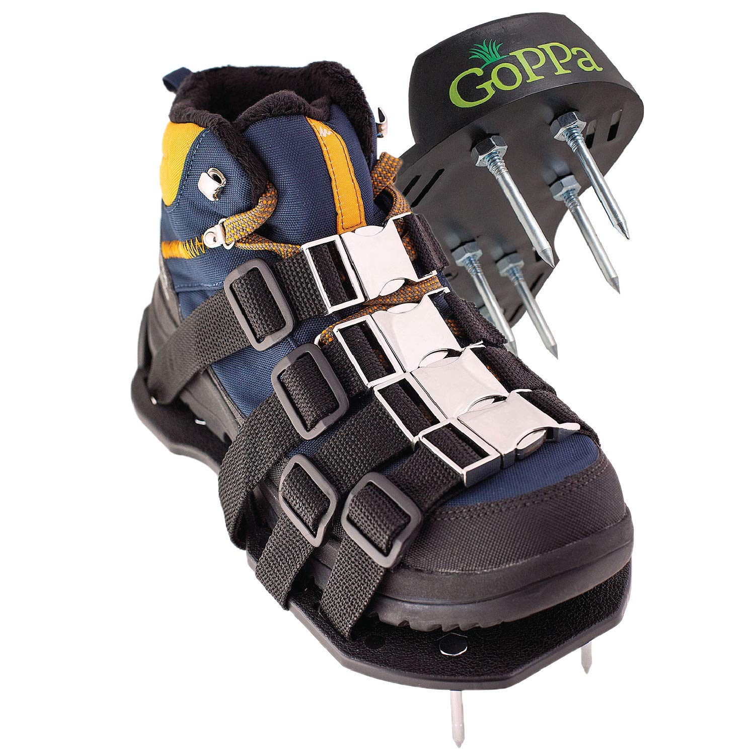 GoPPa Lawn Aerator Shoes - Heavy Duty Lawn Aerator Sandal, You only FIT Once. Ready for aerating Your Yard, Lawn, Roots & Grass - Strong Design by GoPPa