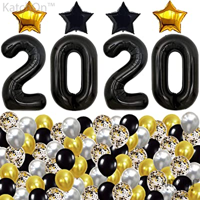 Black 2020 Balloons and Confetti Balloons Set - Gold, Black and Silver Confetti Ballon | New Years Eve Party Supplies 2020 | Graduation Party Supplies 2020 | NYE Decorations 2020 Graduation Balloons: Toys & Games