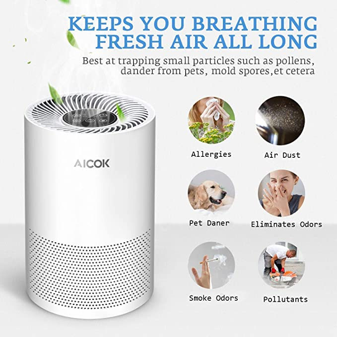 Aicok Purificador de Aire, Filtro HEPA, Bajo Decibelio, Eliminar el Bacterias, Polen, Polvo, Humo del Cigarrillo y Olor a Cocina, Purificador de Aire para Hogar: Amazon.es: Hogar