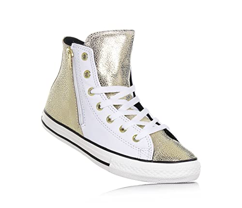 d74820e90e6ce CONVERSE - Zapatilla deportiva blanca y dorada con cordones