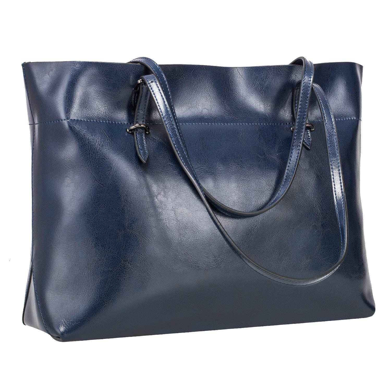 S-ZONE Women's Vintage Genuine Leather Tote Shoulder Bag Handbag Upgraded Version (Dark Blue)