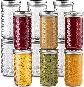 Ball Quilted Crystal Jelly Jars 12 oz [12 Pack] Regular Mouth Mason Jars With lids & Bands For Jams, Honey, Wedding Favors, Shower Favors, Microwave & Dishwasher Safe Bundled With SEWANTA Jar Opener